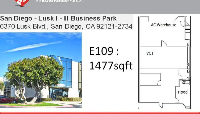 Lab Space for Lease located at 6370 Lusk Blvd San Diego, CA 92121