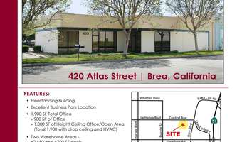 Warehouse for Rent located at 420 Atlas Brea, CA 92821